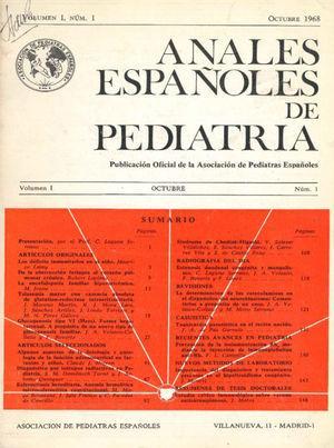 Cover of the first issue of Anales Españoles de Pediatría (October 1968).