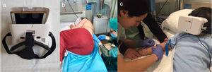 (a) Woxter Neo VR1 glasses connected to a mobile device. (b) Patient using the VR glasses during lumbar puncture. (c) Patient using the VR glasses during a blood draw.