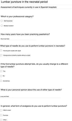 Neonatal lumbar puncture questionnaire.