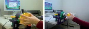 – Propiocepción de la muñeca con el sistema Biometrics E-Link®. Programa informático con diversos juegos y actividades con los que trabajamos la precisión, la calidad y la velocidad del movimiento de la muñeca con distintos instrumentos.