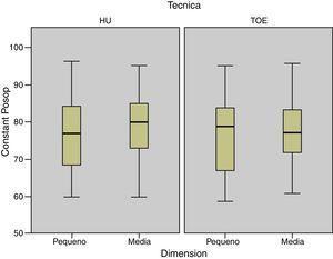 Puntuación en la escala de Constant postoperatoria de acuerdo con la dimensión de la rotura por técnica quirúrgica.