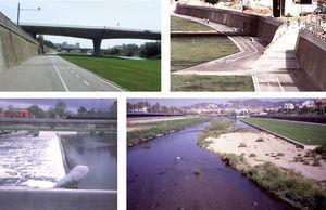 Arriba: aspectos del parque urbano (septiembre 2011) y de los accesos. Comparar con el estado anterior (Figura 2). Abajo: una presa inflada y la acumulación de grava en el cauce central demasiado grande, bajo la influencia de una presa.