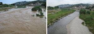 Izquierda: foto durante el paso de la avenida del 30 de julio de 2011 (caudal máximo 200 m3/s, en la foto 100 m3/s), y derecha: pocos días después desde el mismo punto, cerca de A (Figura 5) y mirando aguas abajo.