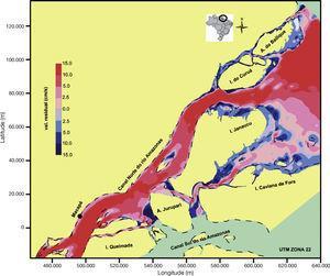 . Mapa de velocidades residuais calculadas ao longo de um ciclo de maré simulado (EXP1), dominância de enchente (correntes negativas em tons de azul) e dominância de vazante (correntes positivas em tons de vermelho). Observa-se, ao longo do canal principal um residual de vazante. Nas áreas mais rasas e planícies de maré se inverte a dominância das correntes, apresentando correntes mais intensas na fase de enchente da maré. Os contornos de terra são indicados na cor amarela e as linhas de baixa-mar com linhas tracejadas.