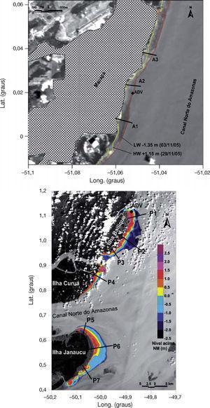 . Imagens de satélite (infravermelho próximo) das planícies de maré: abaixo, Orla da cidade de Macapá mostrando a planície de maré delimitada pelas linhas de preamar (HW) e baixa-mar (LW), e acima, região da foz mostrando a batimetria (referida ao nível médio da maré, NM) das planícies, valores positivos (acima do NM) e valores negativos (abaixo do NM). Também são indicados os perfis transversais onde foram calculados os parâmetros geométricos: A1-A3 e P1-P7, respectivamente, e os pontos de coleta de dados em ambas as planícies (ADV).