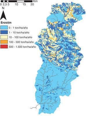 Mapa de erosión específica media en el período de simulación histórico 1970-2008, con la cubierta del suelo actual.