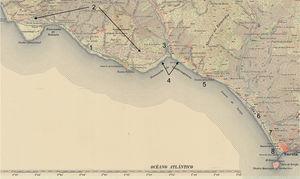 Mapa topográfico de 1917. Los elementos descritos en el texto se referencian en el mapa mediante la numeración correspondiente.