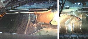 Tanque de ensayos. Modelos físicos en 1992 y 1993, escala 1/70. Izquierda: solución de espigón recto con martillo semisumergido [3]. Derecha: solución de espigón curvo [5].