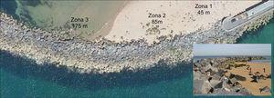 Localización de las 3 zonas dañadas en el espigón. Imagen del PNOA (Ministerio de Fomento). Detalle: vista de las 3 zonas desde el extremo del paseo marítimo.