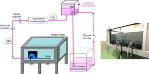 Sistema experimental (fuente: [23]) y fotografía del tanque y las 2 cámaras Imager ProX4M (CCD) utilizadas.