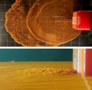 Fotografías de la planta y perfil del dispositivo de descarga en 2 instantes iniciales diferentes del vertido constante de salmuera.