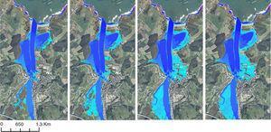 Inundación en Navia para los escenarios E1 (panel izquierdo), E3 (panel en centro-izquierda), E8 (panel en centro-derecha) y E9 (panel derecho).