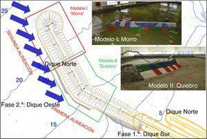 Planta del contradique (fases 1.a y 2.a) y vista de los modelos I (morro) y II (quiebro). Fuente: elaboración propia y GEAMA (UDC).