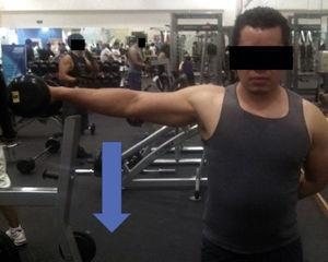 Eccentric contraction exercise for middle deltoids using dumbbells. Concentric movement involves shoulder abduction. Once it is abducted, slow eccentric contraction initiates by approaching the shoulder to the torso.