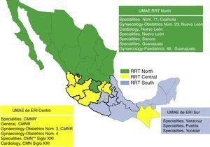 "Mapping of the rapid response teams (RRT) at Instituto Mexicano del Seguro Social (IMSS). The High Speciality Medical Units (UMAE) which support obstetric care are shown in the respective boxes for each rapid response team. CMNR: ""La Raza"" National Medical Centre, CMN: National Medical Centre."