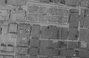 Location of the Hospice for the poor (1) and the Maternity House (2). Map of Mexico City. Ministry of Public Works, 1869.