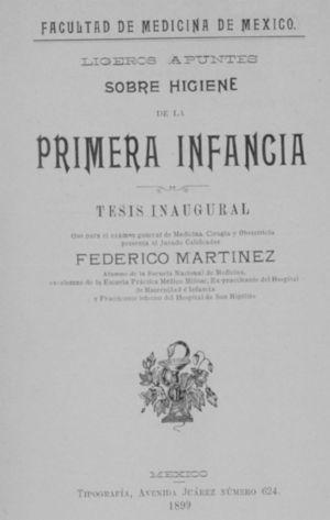 Cover of the opening thesis of Federico Martínez, a physician at the Children's and Maternity Hospital, 1899.