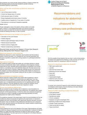 Recommendations and indications for abdominal ultrasound for primary care professionals.