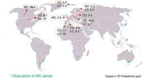 Geographical distribution of microscopic colitis (MC)—collagenous colitis (CC) and lymphocytic colitis (LC)—in different parts of the world. The incidence rates in geographical areas where population-based studies have been conducted are shown.