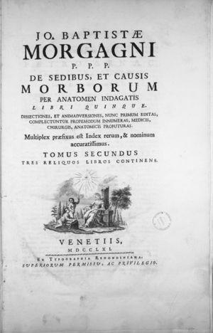 Cover of the book published by Giovanni Battista Morgagni in 1761 in which he described the existence of pancreatic calcifications in some of the dissections he performed.