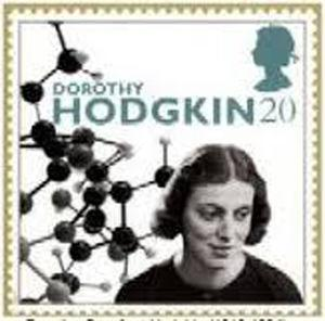 Stamp published in 1996 in homage to Dorothy Crowfoot Hodgkin which has a photo of her and part of the three-dimensional structure of insulin that she described.