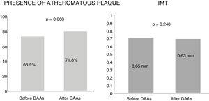 Characteristics of the atheromatous plaques detected in HCV patients before and after 12 months of treatment with direct-acting antivirals (DAAs). IMT: intima-media thickness.