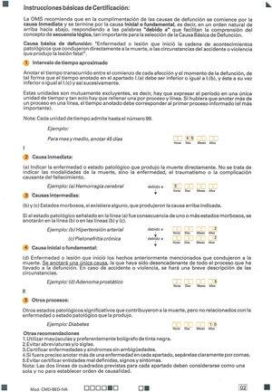 Medical death certificate - Statistical Mortality Bulletin. Basic instructions for certification.
