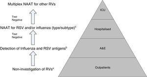 Proposal for a rational work flow and cost-effective algorithm for the investigation of respiratory viruses (RV). a Except for patients included in monitoring programmes (e.g. National Influenza Monitoring Network). b Except in special situations: pregnancy, predisposing underlying disease, etc., in which NAATs will be performed directly. c NAATs for other RV (rhinovirus, metapneumovirus, etc.), may be added in patients with a high risk of serious respiratory illness. Modified by Navarro-Marí et al.45