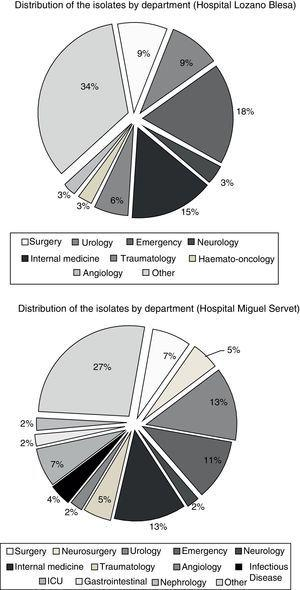 Distribution of the isolates by hospital department in the two hospitals analysed.