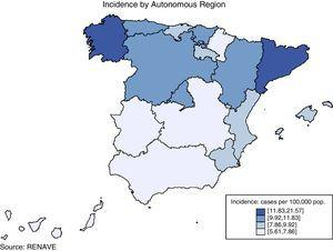 Tuberculosis. Rates per 100,000. Incidence by Autonomous Region.