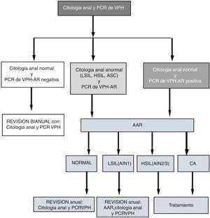 Follow-up algorithm. HRA: high-resolution anoscopy; AIN: anal intraepithelial neoplasm; ASC: atypical squamous cells; AC: anal cancer; HSIL: high-grade intraepithelial lesion; LSIL: low-grade intraepithelial lesion; HPV PCR: human papilloma virus protein chain reaction.