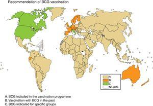 Recommendation of BCG vaccination. The countries where BCG is included in the vaccination programme are in beige (A), the countries where BCG vaccination used to be but is no longer done are in orange (B) and the countries where BCG is indicated only in specific population groups are in green (C). Source: WHO Global Tuberculosis Report 2017.