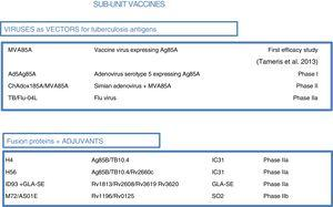 Sub-unit vaccines in clinical trials. Sub-unit vaccines seek in individuals previously vaccinated with BCG to increase the protection it confers by boosting it with M. tuberculosis antigens. They may use different viruses as vectors, such as poxviruses (MVA), adenoviruses of different origins (Ad or ChA) and the flu virus. Other sub-unit vaccines use different adjuvants (IC31, GLA-SE or SO2) to enhance the immunogenic effects of M. tuberculosis proteins. The current phase of clinical development is indicated for each candidate sub-unit.