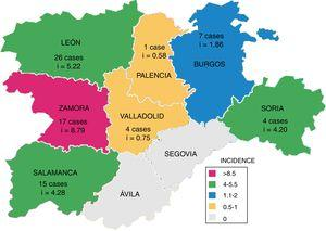Number of cases and cumulative incidence of human Mycobacterium bovis infections per province in Castile and León, 2006–2015.