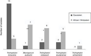 Number of non-endemic dermatophytes by origin. Statistical significance is indicated by * (*<0.01; **<0.001).
