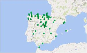 Map with the height of the cylinders representing the number of cases by province of residence of patients with fascioliasis admitted to Spain from 1997 to 2014.
