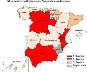 Map of Spain with the number of centres that have participated in the survey by autonomous region.