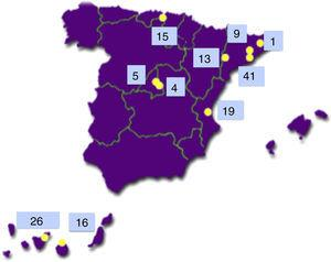 Distribution of the 149 sib-pair families with type 1 diabetes recruited in Spain for the Type 1 Diabetes Genetics Consortium.