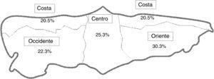 Mapa de división geográfica de la comunidad autónoma del Principado de Asturias utilizada en el estudio y proporción de escolares estudiados por zona.