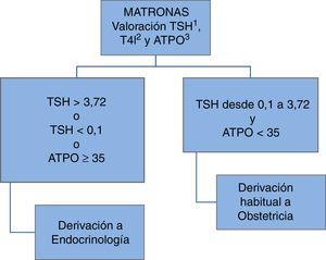Organización de la asistencia a la disfunción tiroidea gestacional en el Complejo Asistencial Universitario de León. 1: tirotroponina; 2: tiroxina libre; 3: anticuerpos antiperoxidasa tiroidea.