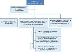 Estrategia de abordaje nutricional en pacientes con riesgo nutricional por COVID-19. NE: nutrición enteral; SNG: sonda nasogástrica.