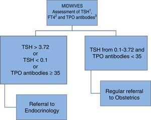 Organization of the care of gestational thyroid dysfunction at the University Care Complex of León (Complejo Asistencial Universitario de León, CAULE). 1: thyrotropin; 2: free thyroxine; 3: thyroid peroxidase antibodies.