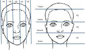 Proporções de altura e largura da face. A face é dividida em cinco partes iguais no plano vertical e três partes iguais no plano horizontal.