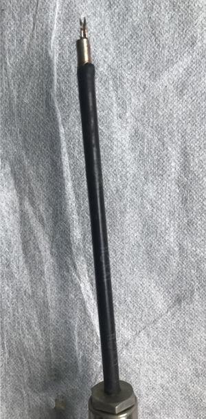 Imagem detalhada da ponta da antena de micro‐ondas.