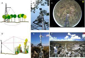 Brazilian sites from e-phenology network and their different phenology monitoring setups for woody and open vegetation: (A) sketch of the hemispherical lens camera mounting design for forest canopy&#59; (B) camera set up in the field&#59; (C) sample image captured by the hemispherical lens digital camera in the cerrado sensu stricto vegetation (Itirapina, SP)&#59; (D) sketch of the camera mounting design for a landscape perspective&#59; (E) camera set up in the field, (F) sample image of the heterogeneous landscape in the Serra do Cipó mountain range (Santana do Riacho, Minas Gerais State, Brazil).