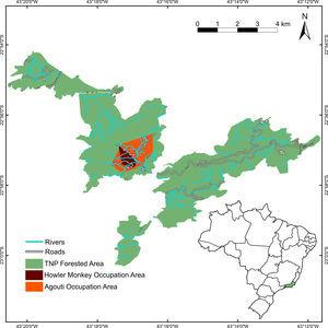 Location of the study area in Tijuca National Park, Rio de Janeiro City, southeastern Brazil The orange polygon represents the 100% Minimum Convex Polygon (MCP) for all camera traps where red-humped agoutis Dasyprocta leporina individuals were found until August, 2016. The red polygon represents the 95% MCP of localizations of brown-howler monkeys Alouatta guariba until February, 2017.