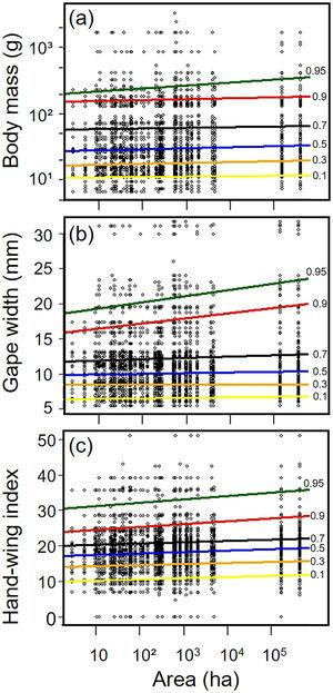 Relationships between habitat patch size and three biometric traits—(a) body mass&#59; (b) gape width, and (c) hand-wing index (HWI)—in frugivorous bird assemblages. Black dots represent trait values for each bird species of an assemblage (y-axis) in each forest patch. Colored lines show the quantile regression for six different quantiles: τ=0.1 (yellow), τ=0.3 (orange)&#59; τ=0.5 (blue)&#59; τ=0.7 (black)&#59; τ=0.9 (red) and τ=0.95 (green). (For interpretation of the references to color in this legend, the reader is referred to the web version of the article.)