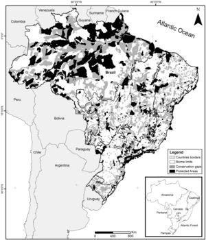 Spatial conservation gaps (grey) correspond to Priority Areas, defined officially by participatory Systematic Conservation Planning exercises, which do not overlap with existing Conservation Units (black). In this optimistic scenario, conservation gaps correspond to 16.5% of the national territory. When APAs are excluded, the conservation gap rises to 21.2%. Priority Areas limits follow MMA (2007, 2016). Conservation Units limits follow CNUC (2017).