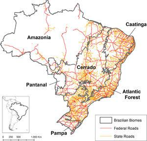 Distribution of paved state and federal roads within Brazilian biomes: Amazonia forest, Caatinga xeric shrubland, Cerrado savanna, Pantanal wetland, Atlantic Forest, and Pampa grassland.
