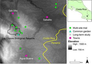 Location of study sites in southern Costa Rica.